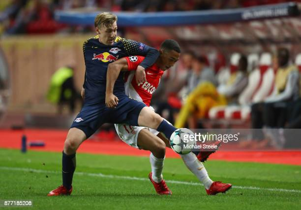 Emil Forsberg of RB Leipzig and Youri Tielemans of AS Monaco FC battle for possession during the UEFA Champions League group G match between AS...