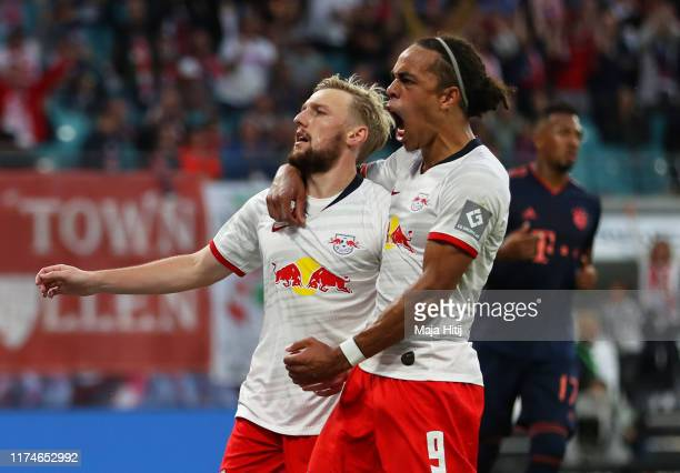 Emil Forsberg of RB Leipzig celebrates after scoring his team's first goal with Yussuf Poulsen during the Bundesliga match between RB Leipzig and FC...