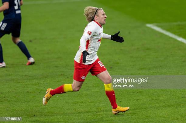 Emil Forsberg of RB Leipzig celebrates after scoring his team's first goal during the Bundesliga match between RB Leipzig and 1. FC Union Berlin at...