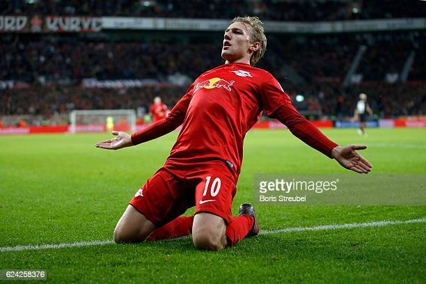 Emil Forsberg of RB Leipzig celebrates after scoring his team's second goal during the Bundesliga match between Bayer 04 Leverkusen and RB Leipzig at...