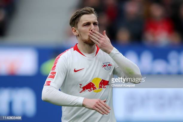 Emil Forsberg of RB Leipzig celebrates after scoring his team's third goal form penalty during the Bundesliga match between Bayer 04 Leverkusen and...