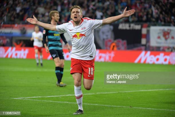 Emil Forsberg of RB Leipzig celebrates after scoring the 10 during the Bundesliga match between RB Leipzig and Hertha BSC at the Red Bull Arena on...