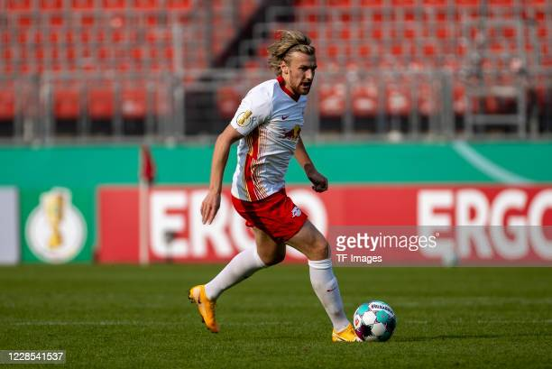 Emil Forsberg of RB Leipzig during the DFB Cup first round match between 1 FC Nuernberg and RB Leipzig at MaxMorlockStadion on September 12 2020 in...