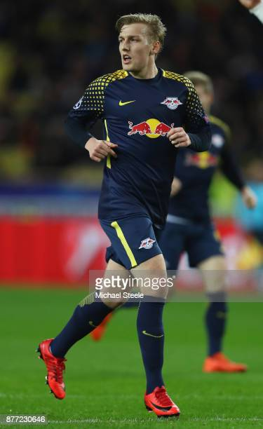Emil Forsberg of RB Leipzig during the UEFA Champions League group G match between AS Monaco and RB Leipzig at Stade Louis II on November 21 2017 in...
