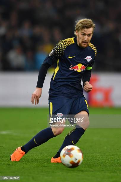 Emil Forsberg of RB Leipzig in action during the UEFA Europa League quarter final leg two match between Olympique Marseille and RB Leipzig at Stade...