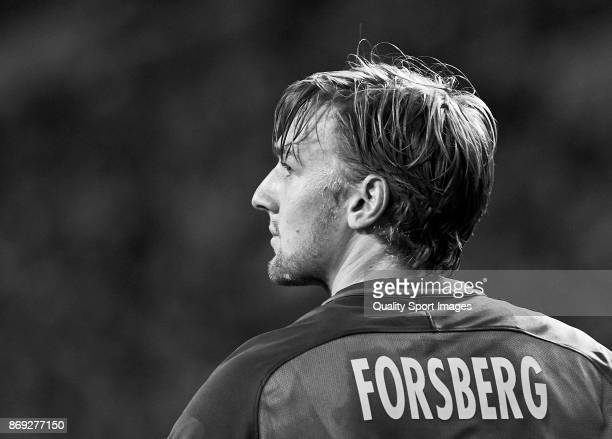 Emil Forsberg of RB Leipzig looks on during the UEFA Champions League group G match between FC Porto and RB Leipzig at Estadio do Dragao on November...