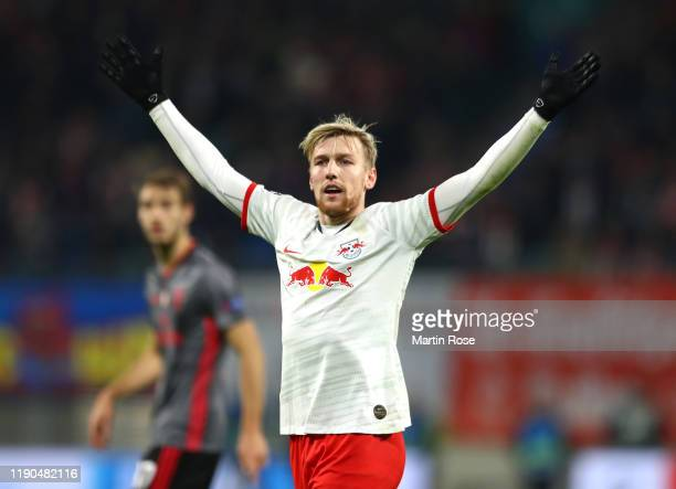 Emil Forsberg of RB Leipzig reacts during the UEFA Champions League group G match between RB Leipzig and SL Benfica at Red Bull Arena on November 27...