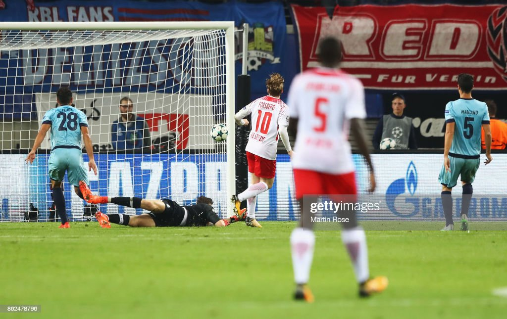 Emil Forsberg of RB Leipzig scores his sides second goal during ...