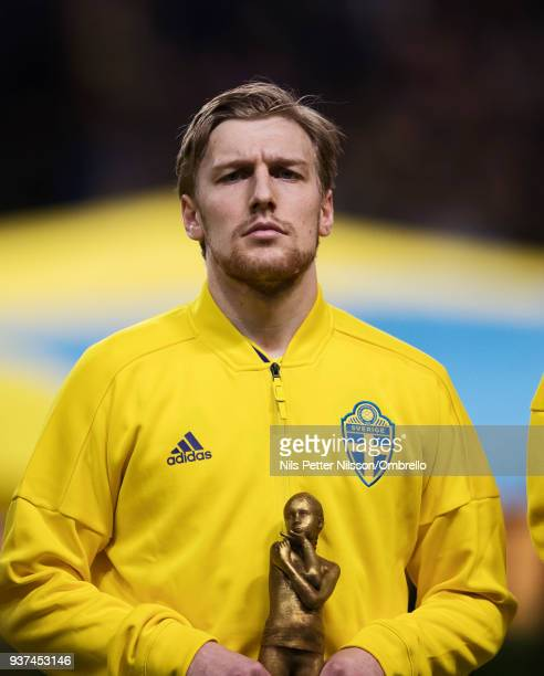 Emil Forsberg of Sweden ahead of the International Friendly match between Sweden and Chile at Friends arena on March 24 2018 in Solna Sweden