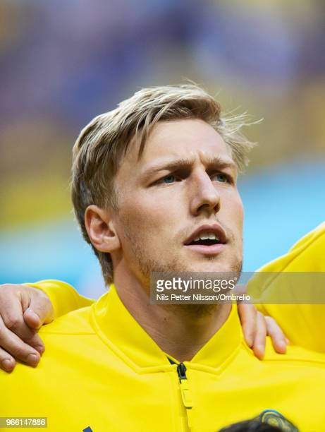 Emil Forsberg of Sweden ahead of the International Friendly match between Sweden and Denmark at Friends Arena on June 2 2018 in Solna Sweden