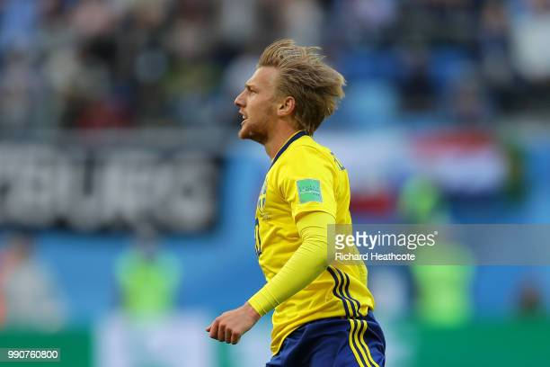 Emil Forsberg of Sweden celebrates after scoring his team's first goal during the 2018 FIFA World Cup Russia Round of 16 match between Sweden and...