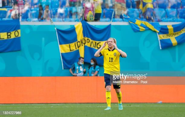 Emil Forsberg of Sweden celebrates after scoring their side's first goal during the UEFA Euro 2020 Championship Group E match between Sweden and...
