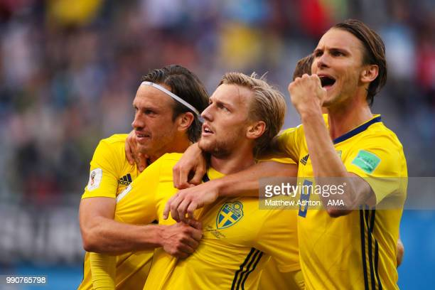 Emil Forsberg of Sweden celebrates scoring a goal to make it 10 during the 2018 FIFA World Cup Russia Round of 16 match between Sweden and...