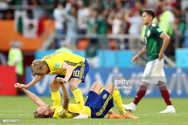 Emil Forsberg of Sweden celebrates victory with teammate Ola Toivonen during the 2018 FIFA World Cup Russia group F match between Mexico and Sweden...