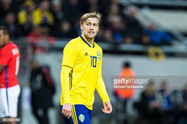 Emil Forsberg of Sweden during an international friendly between Sweden and Chile at Friends arena on March 24 2018 in Solna Sweden