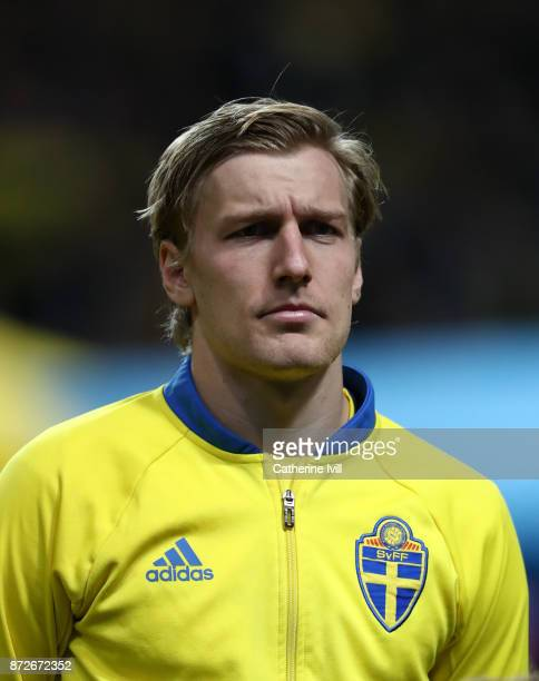 Emil Forsberg of Sweden during the FIFA 2018 World Cup Qualifier PlayOff First Leg between Sweden and Italy at Friends arena on November 10 2017 in...
