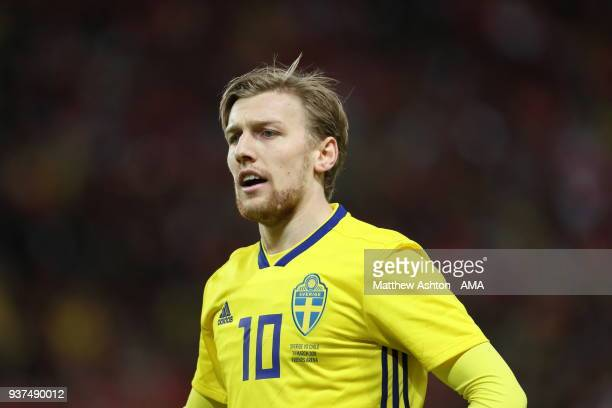 Emil Forsberg of Sweden during the International Friendly match between Sweden and Chile at Friends arena on March 24 2018 in Solna Sweden