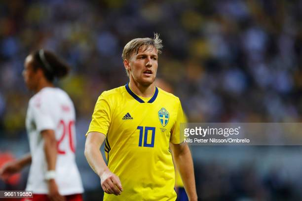 Emil Forsberg of Sweden during the International Friendly match between Sweden and Denmark at Friends Arena on June 2 2018 in Solna Sweden