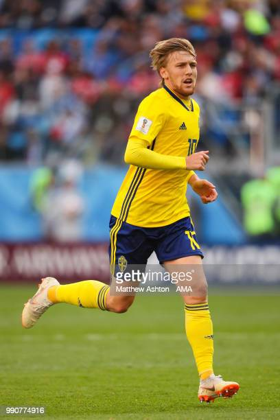 Emil Forsberg of Sweden in action during the 2018 FIFA World Cup Russia Round of 16 match between Sweden and Switzerland at Saint Petersburg Stadium...