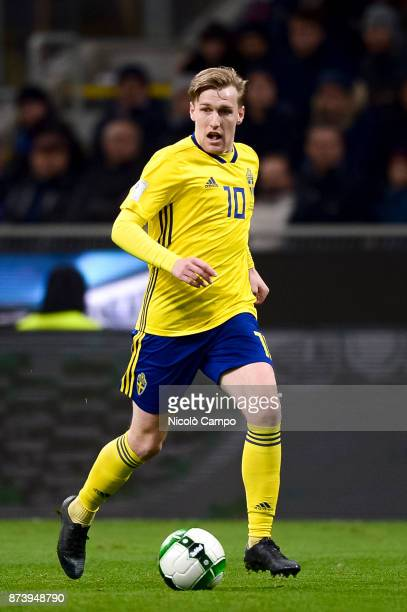 Emil Forsberg of Sweden in action during the FIFA 2018 World Cup Qualifier PlayOff Second Leg between Italy and Sweden The match ended in a 00 tie