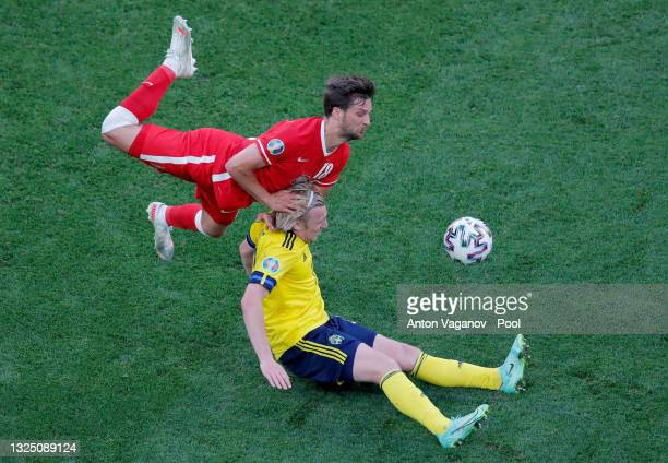 Emil Forsberg of Sweden is challenged by Bartosz Bereszynski of Poland during the UEFA Euro 2020 Championship Group E match between Sweden and Poland...