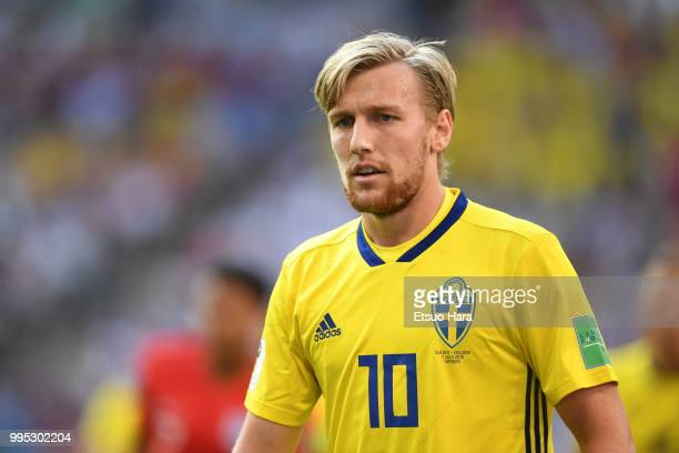 Emil Forsberg of Sweden looks on during the 2018 FIFA World Cup Russia Quarter Final match between Sweden and England at Samara Arena on July 7 2018...