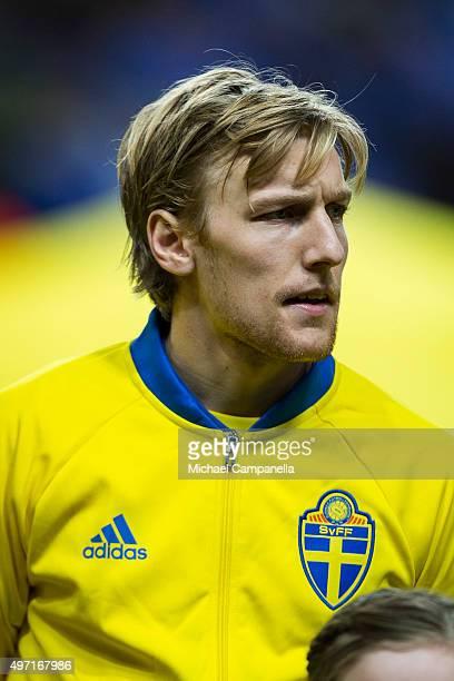 Emil Forsberg of Sweden looks on during the European Qualifier PlayOff between Sweden and Denmark on November 14 2015 in Solna Sweden