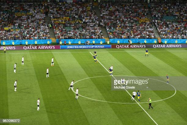 Emil Forsberg of Sweden passes the ball at kick off during the 2018 FIFA World Cup Russia group F match between Germany and Sweden at Fisht Stadium...