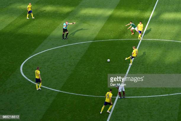 Emil Forsberg of Sweden passes the ball at kick off during the 2018 FIFA World Cup Russia group F match between Mexico and Sweden at Ekaterinburg...