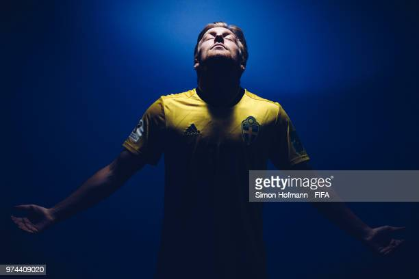Emil Forsberg of Sweden poses during the official FIFA World Cup 2018 portrait session on June 13, 2018 in Gelendzhik, Russia.