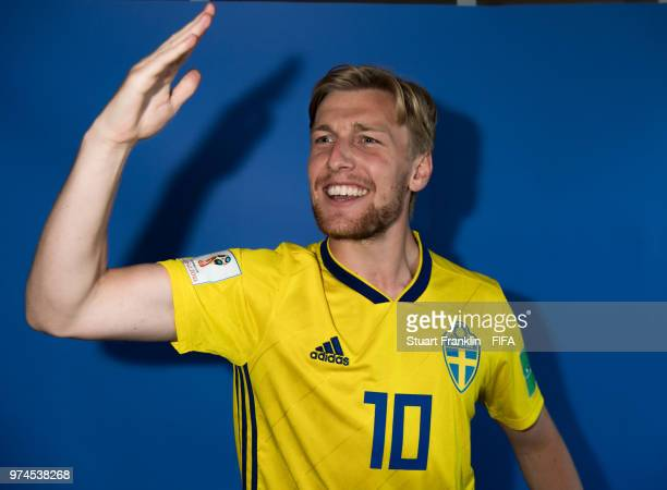 Emil Forsberg of Sweden poses for a photograph during the official FIFA World Cup 2018 portrait session at on June 13 2018 in Gelendzhik Russia