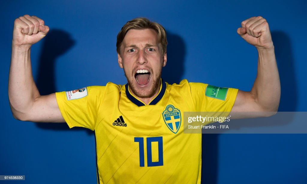 Emil Forsberg of Sweden poses for a photograph during the official FIFA World Cup 2018 portrait session at on June 13, 2018 in Gelendzhik, Russia.