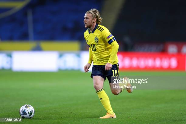 Emil Forsberg of Sweden runs with the ball during the UEFA Nations League group stage match between Sweden and Croatia at Friends Arena on November...