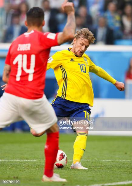 Emil Forsberg of Sweden scores a goal to make it 1-0 during the 2018 FIFA World Cup Russia Round of 16 match between Sweden and Switzerland at Saint...
