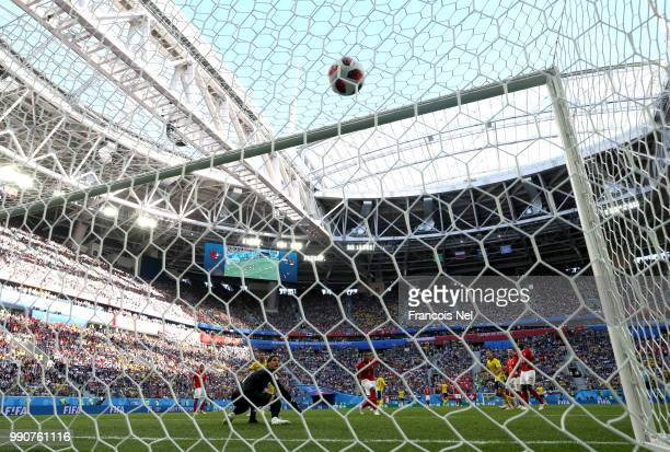 Emil Forsberg of Sweden scores his team's first goal past goalkeeper Yann Sommer of Switzerland during the 2018 FIFA World Cup Russia Round of 16...
