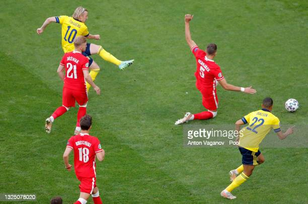 Emil Forsberg of Sweden scores their side's first goal during the UEFA Euro 2020 Championship Group E match between Sweden and Poland at Saint...
