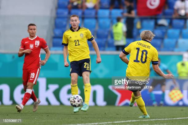Emil Forsberg of Sweden scores their side's second goal during the UEFA Euro 2020 Championship Group E match between Sweden and Poland at Saint...