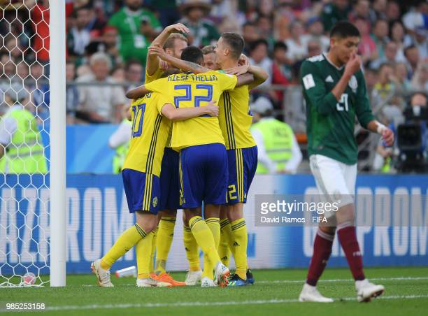 Emil Forsberg Ola Toivonen Isaac Kiese Thelin ans Emil Forsberg of Sweden celebrate their team's third goal an own goal scored by Edson Alvarez of...