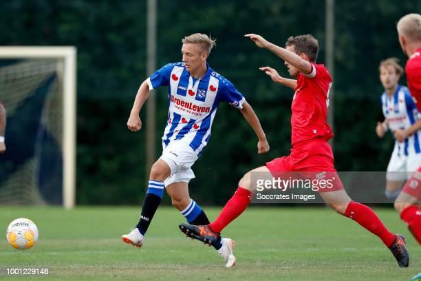 Emil Frederiksen of SC Heerenveen Wout Brama of FC Twente during the Club Friendly match between SC Heerenveen v Fc Twente at the Sportpark 't...