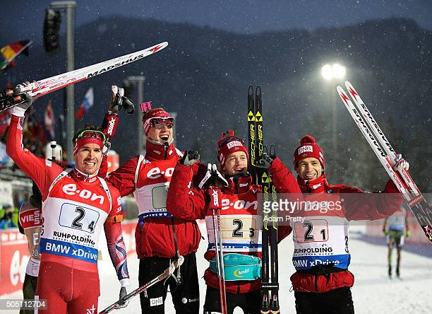 Emil Hagle Svendsen Tarjei Boe Johannes Thingnes Boe and Ole Einar Bjoerndalen of Norway celebrate victory in the Men's 4x75km relay of the...