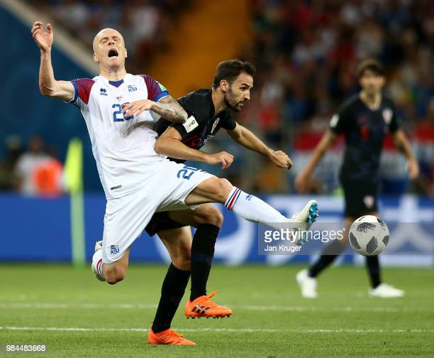 Emil Hallfredsson of Iceland is challenged by Milan Badelj of Croatia during the 2018 FIFA World Cup Russia group D match between Iceland and Croatia...