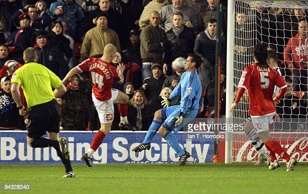 Emil Hallfredsson scores the second goal during the Coca-Cola Championship game between Barnsley and Newcastle United at the Oakwell ground on...
