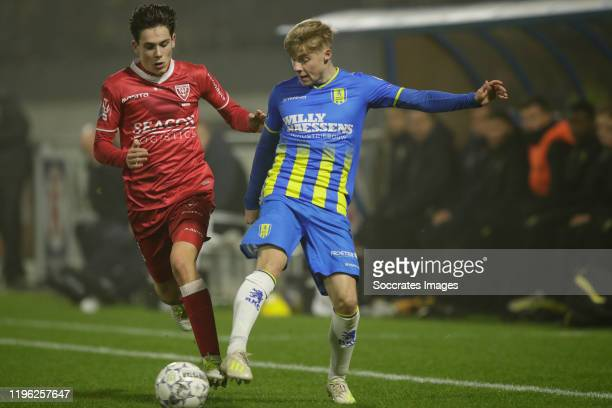 Emil Hansson of RKC Waalwijk, Simon Janssen of VVV Venlo during the Dutch Eredivisie match between RKC Waalwijk v VVV-Venlo at the Mandemakers...