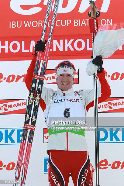 Emil Hegle Svendsen of Norway celebrates after winning the men's pursuit during the E.ON IBU Biathlon World Cup on March 19, 2011 in Oslo, Norway.