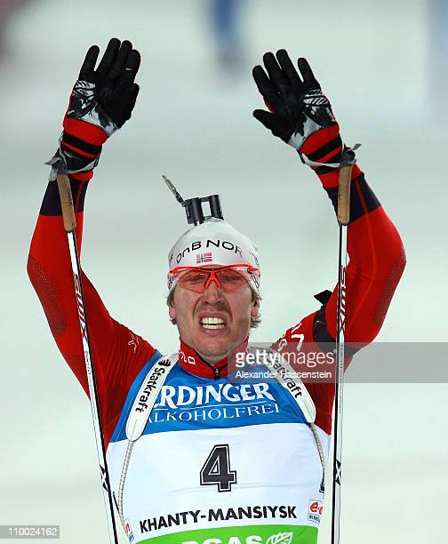 Emil Hegle Svendsen of Norway celebrates winning the gold medal of the men's mass start during the IBU Biathlon World Championships at A.V....