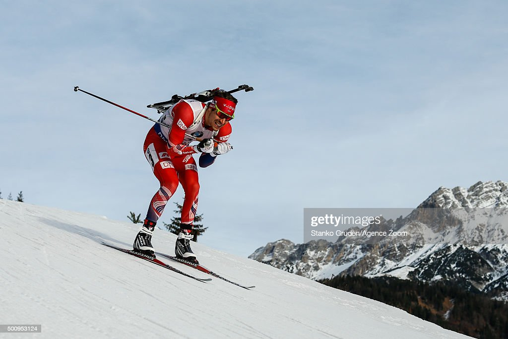 Emil Hegle Svendsen of Norway competes during the IBU Biathlon World Cup Men's and Women's Sprint on December 11, 2015 in Hochfilzen, Austria.