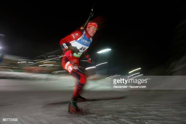 Emil Hegle Svendsen of Norway competes during the Men's 10km Sprint in the e.on Ruhrgas IBU Biathlon World Cup on January 14, 2010 in Ruhpolding,...