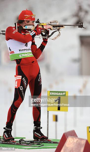 Emil Hegle Svendsen of Norway competes during the men's mass start in the e.on Ruhrgas IBU Biathlon World Cup on January 16, 2010 in Ruhpolding,...