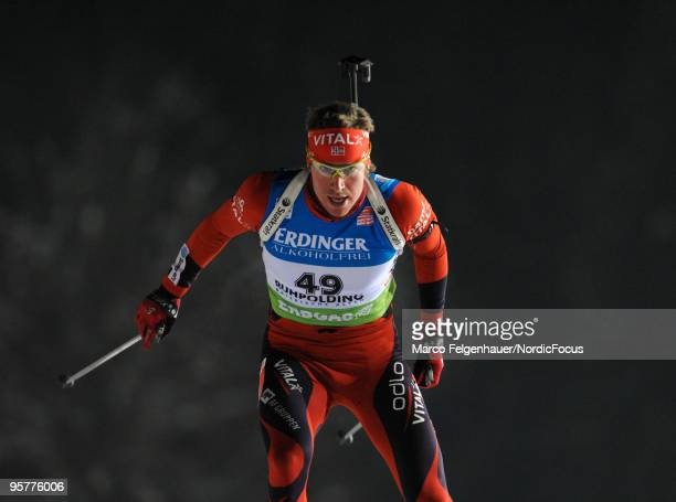 Emil Hegle Svendsen of Norway competes during the men's sprint in the e.on Ruhrgas IBU Biathlon World Cup on January 14, 2010 in Ruhpolding, Germany.