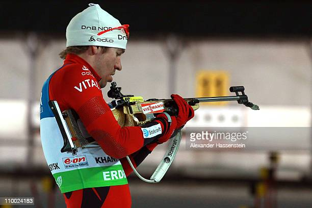 Emil Hegle Svendsen of Norway competes in men's mass start during the IBU Biathlon World Championships at A.V. Philipenko winter sports centre on...